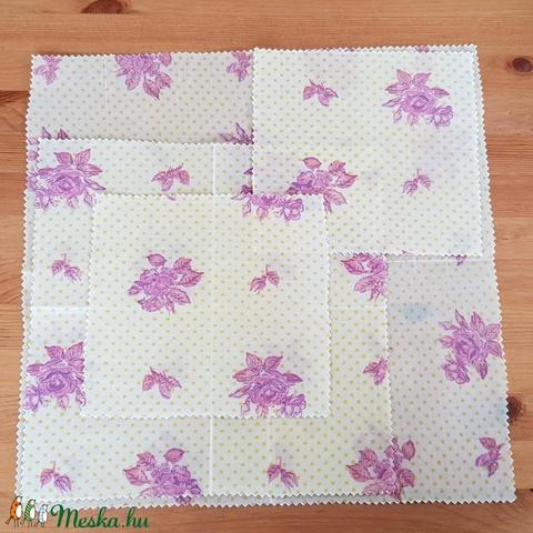 Méhviaszos kendő: újratextil csomagoló szett - rózsás (mewick) - Meska.hu