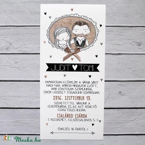 Egyedi grafikás esküvői meghívó (milady) - Meska.hu