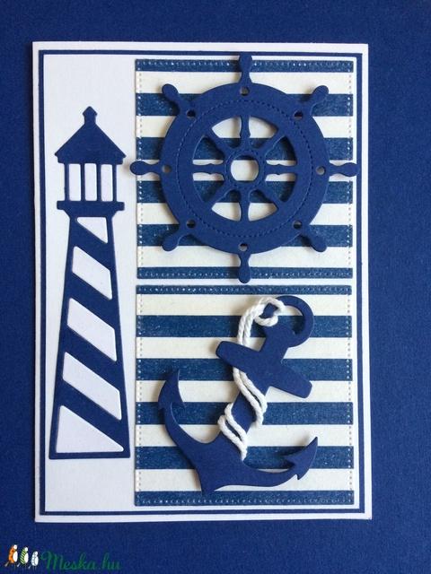 Tengerész képeslap 2.  tenger, horgony, hajó, vitorlás, mentőöv, kormánykerék, Balaton, tengerészcsomó, nyár, nyaralás, (Mimizuku) - Meska.hu