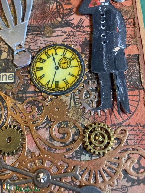 Steampunk képeslap, fogaskerék, óra, léghajó, gép,kulcs 3D (Mimizuku) - Meska.hu