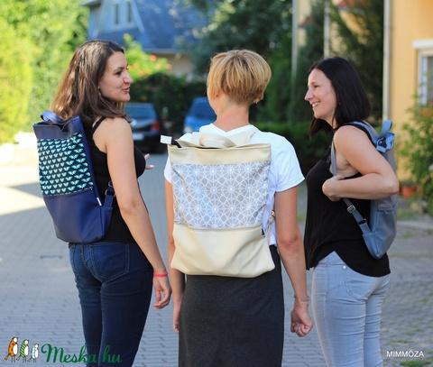 Női laptop táska beige geometrikus mintás (Mimmoza) - Meska.hu