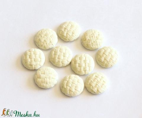 Natúr bambusz gomb, lapos gomb, bambusz kaboson, fém hátú, 17 mm, 10 db / csomag - Meska.hu