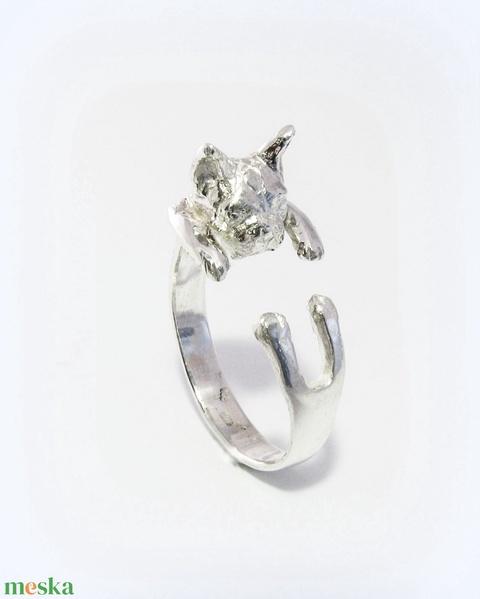 Ezüst francia bulldog gyűrű - Meska.hu