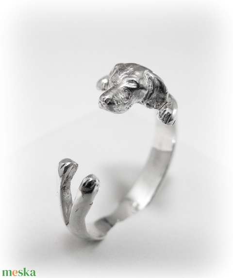 Ezüst/14K-os arany vizsla gyűrű - ékszer - gyűrű - figurális gyűrű - Meska.hu