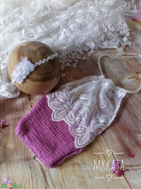 Kötött újszülött szett 0-2 hónapos méret  - ruha & divat - babaruha & gyerekruha - babasapka - Meska.hu