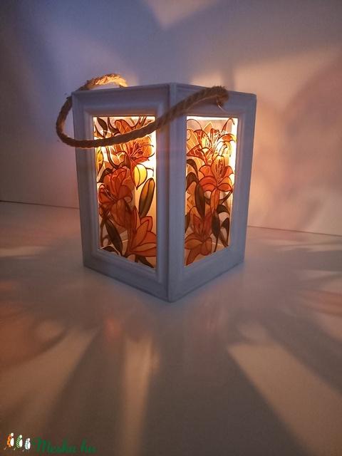 Tűzliliom - üvegfestett lámpás - Meska.hu