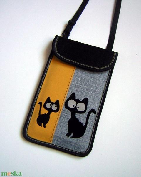 Telefontok állítható pántos mobiltok  Cicás kistáska fekete-szürke-sárga fényvisszaverő szemek - táska & tok - pénztárca & más tok - telefontok - Meska.hu