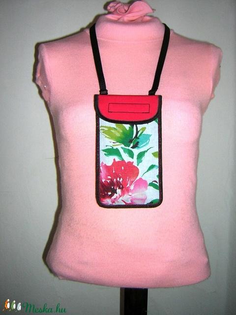 Állítható pántos mobil tok  Plus-os méretű telefonokhoz  vidám nyárias korall-fehér-zöld - táska & tok - kézitáska & válltáska - vállon átvethető táska - Meska.hu