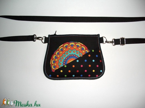 Övtáska  kis táska  fekete-színes - Meska.hu