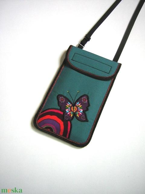 Nyakbaakasztható mobiltok állítható pánttal XL telefon tartó türkiz lepkés - Meska.hu