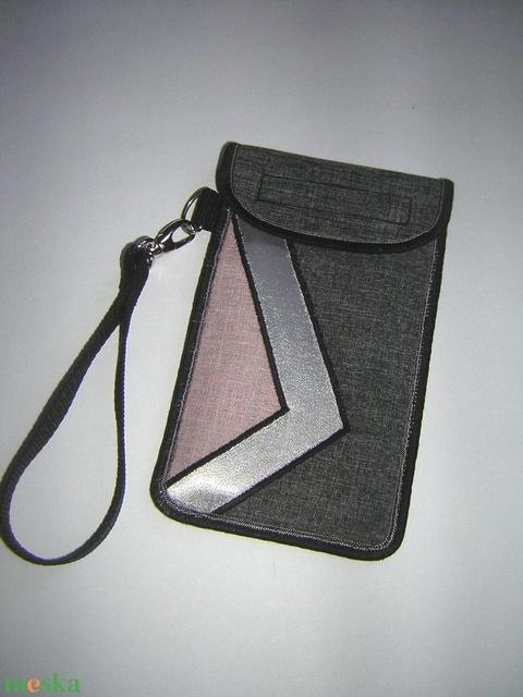 Mobiltok kis csuklótáska plus-os méretű okostelefonhoz XL-es telefon tartó tok púder-ezüstszürke-szürke - Meska.hu