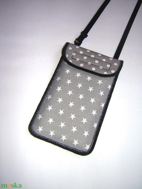 Állítható pántos mobil tok  Plus-os méretű telefonokhoz  pöttyös-csillagos - Meska.hu