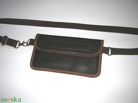 Mobiltok kétrekeszes övtáska sötétbarna vintage bőrhatású anyagból - Meska.hu