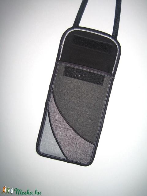 Nyakbaakasztató mobil tok  Plus-os méretű telefonokhoz  XL-es tok állítható pánttal Szürke három árnyalata - Meska.hu
