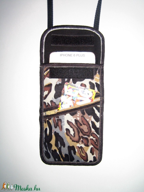 Telefontok elől cipzáros kis zsebbel Nyakba akasztható elegáns kistáska  Párducos barna-fekete-bézs - Meska.hu