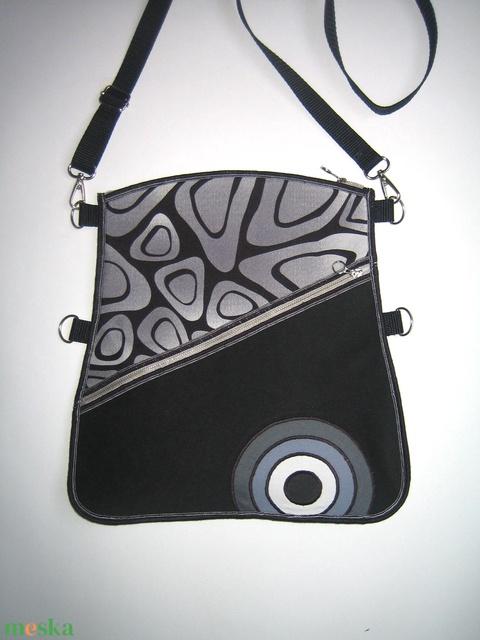 Oldaltáska elegáns közepes méretű táska 3in1 Fekete Szürke Fehér - Meska.hu
