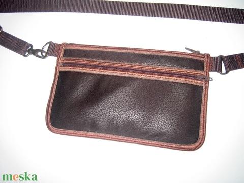 Kétrekeszes Mobiltok övtáska sötétbarna vintage bőrhatású anyagból - Meska.hu