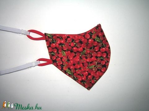 Cseresznyés Szájmaszk textil maszk állítható gumival - Meska.hu