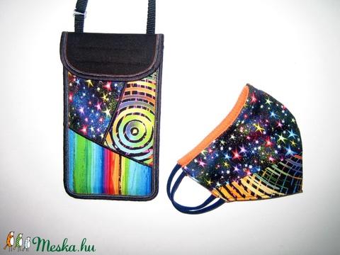 Szájmaszk Mobiltok Garnitúra állítható pántos telefon tartó + fülre akasztható textil maszk - Meska.hu