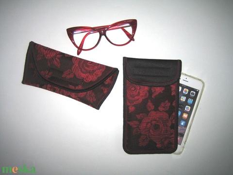 Szemüvegtok-Mobiltok szett Rózsás brokát fekete-piros-bordó - táska & tok - pénztárca & más tok - szemüvegtok - Meska.hu