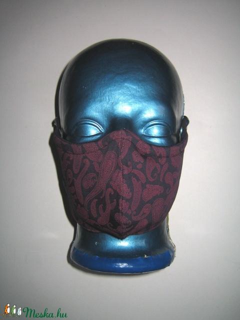 Drótos háromrétegű szájmaszk arcmaszk fülre akasztható védő maszk sötétkék-bordó - Meska.hu