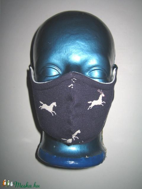 Lovas Szájmaszk drótos fülre akasztható arcmaszk biciklis maszk  sötétkék fehér - Meska.hu