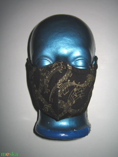 Minőségi szájmaszk orrmerevítős kottás arcmaszk 2in1 elegáns maszk  fekete-arany - Meska.hu
