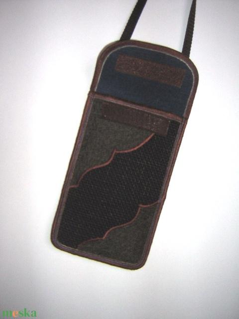 Telefontok állítható pánttal nagy méretű telefonokhoz Barna-Kék - Meska.hu