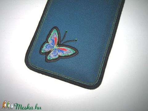 Mobiltok állítható pánttal XL telefon tartó türkiz lepkés - Meska.hu