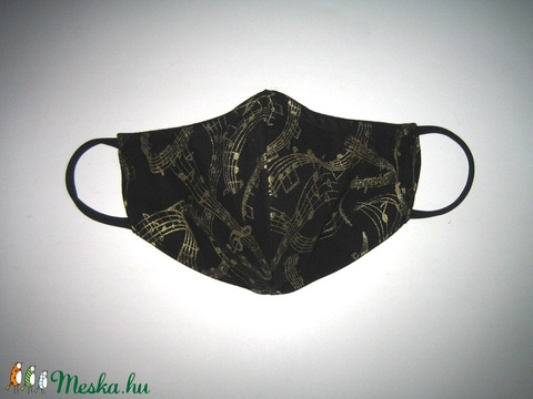 Kottás szájmaszk orrmerevítős arcmaszk 2in1 biciklis maszk  fekete-arany - Meska.hu