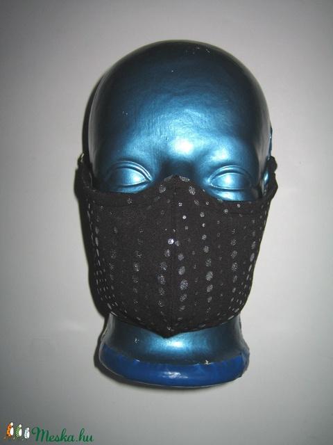 Elegáns drótos szájmaszk fülre akasztható arcmaszk 2in1 textil maszk fekete-ezüst Pöttyös - Meska.hu