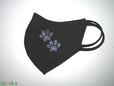 Mancsos orrmerevítős szájmaszk fülre akasztható arcmaszk textil maszk Fekete-ezüst glitter tappancsok - Meska.hu
