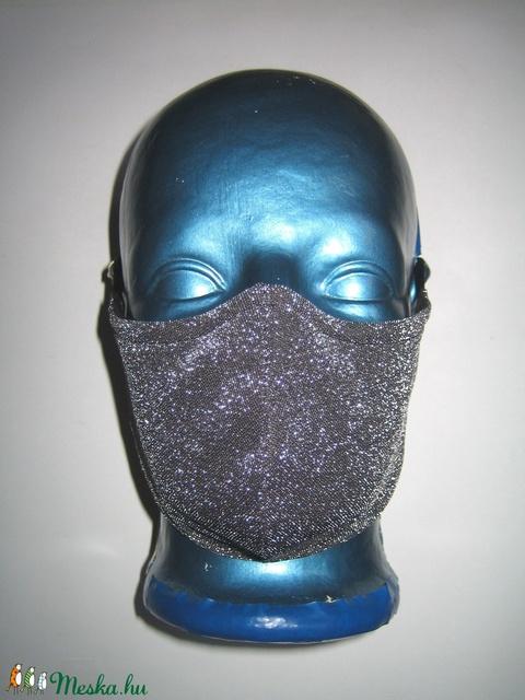 Ezüst csillogó szájmaszk orrmerevítős fülre akasztható lurex maszk fekete-ezüst - Meska.hu