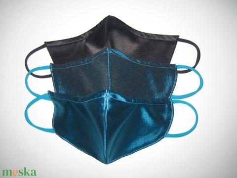 Selyem szájmaszk csomag 3db orrmerevítős elegáns textil maszk 1 türkiz 1 petrolzöld 1 fekete - Meska.hu