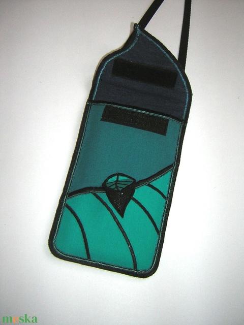Mobiltok állíthatópánttal Plus-os méretű telefonokhoz  türkiz leveles  - Meska.hu