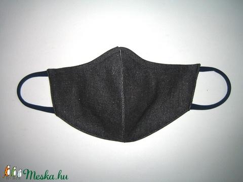 Ezüstösen csillogó farmer szájmaszk orrmerevítős fülre akasztható maszk sötétszürke-ezüst - Meska.hu