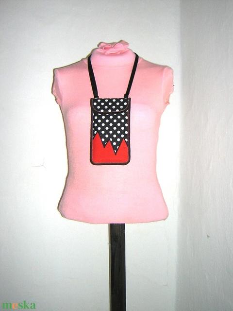 Mobiltok állítható pánttal  XL telefon tartó nyakba akasztható pöttyös - Meska.hu