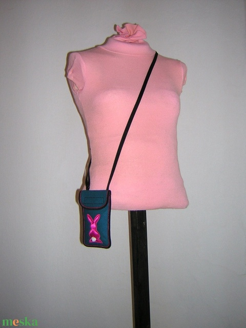 Mobiltok nagyméretű telefonokhoz állítható pánttal  petrolzöld pink nyuszis - Meska.hu