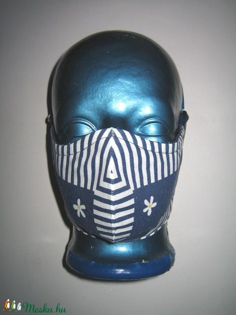 2in1 Szájmaszk arcmaszk fülre akasztható védő maszk textilmaszk sötétkék-fehér - Meska.hu