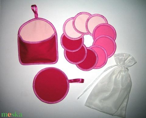 10 db Arctisztító korong tárolóval és mosózsákkal mosható-NoWaste a rózsaszín 3 árnyalata - Meska.hu