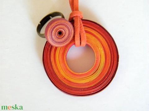 Naplemente ékszerszett quillingpapírból: medál és gyűrű - Meska.hu