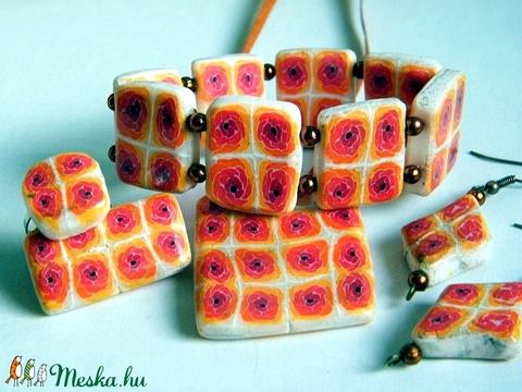 Érett rózsák ékszerszett medál, fülbevaló, bross és gyűrű - Meska.hu