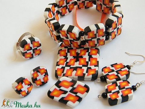 Fények ékszerszett medál, fülbevaló, karkötő, bross és gyűrű - Meska.hu