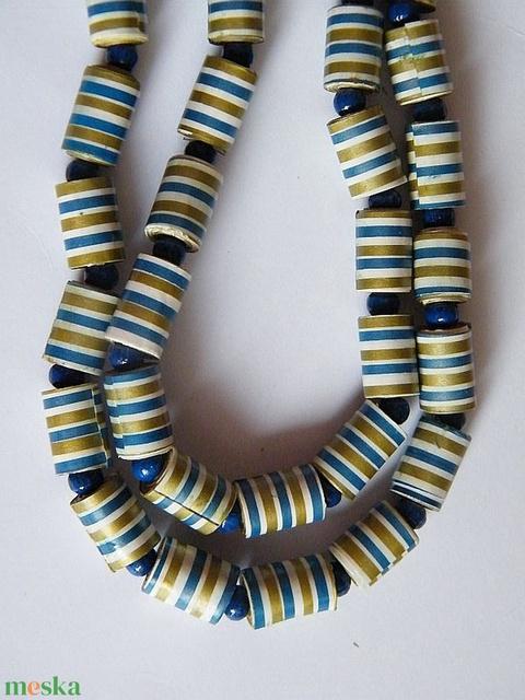 Kék-arany nyaklánc újrahasznosított papírból - Meska.hu