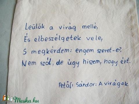 Búzavirág festett textilszatyor idézettel - Meska.hu