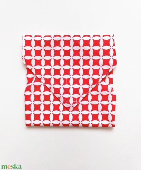 Újraszalvéta, szendvics csomagoló, piros geometrikus - Meska.hu