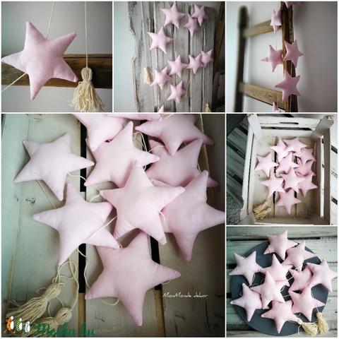 Rózsaszín csillag füzér_dekoráció - Meska.hu