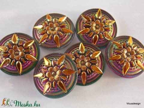 Csillagvirág 27mm cseh üveggomb - Meska.hu