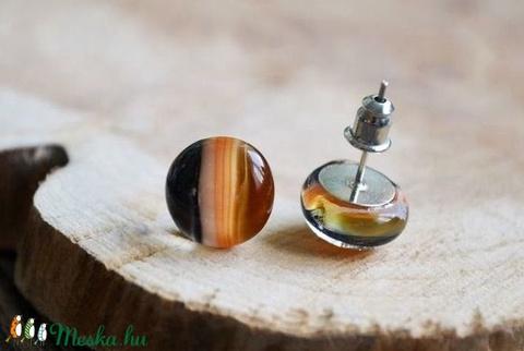 Borostyán-Narancs-fekete üveggolyó - bedugós üveg fülbevaló (mylittlethings) - Meska.hu