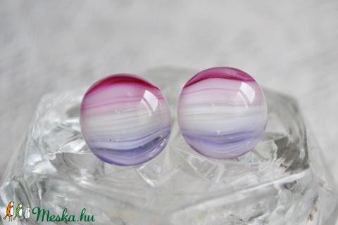 Rózsaszín-fehér-lila üveggolyó - bedugós üveg fülbevaló (mylittlethings) - Meska.hu